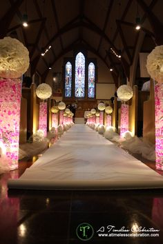 Beautiful wedding ceremony lighted aisle decorations | A Timeless Celebration Events Styling  Management Montreal
