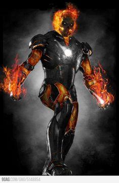 Super Hero mashup Iron Man/ Ghost Rider
