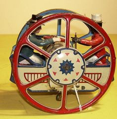 """1910 - 1935 Lehmann """"Zick - Zack"""" - Schaukelrad - in near mint condition! Vintage Tins, Retro Vintage, Old Fashioned Toys, Toys In The Attic, Simply Red, Tin Toys, Childhood Toys, Retro Toys, Antique Toys"""