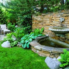 Great ideas for DIY garden fountains, from simple bubbling jars to classic urns, cupids, and wall fountain water features. Backyard Water Fountains, Outdoor Wall Fountains, Backyard Water Feature, Garden Fountains, Magic Garden, Dream Garden, Landscape Design, Garden Design, Water Features In The Garden