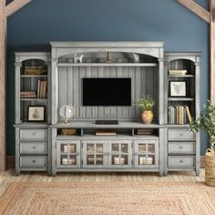 Living Room Entertainment Center, Entertainment Center Makeover, Tv Center, Family Room Walls, Solid Wood Tv Stand, Tv Unit Design, Living Room Grey, Living Area, Traditional Furniture
