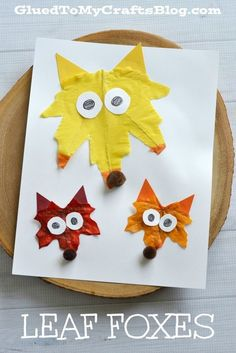 Leaf Foxes. Colorful fall craft for kids. (Cool Crafts For Boys)