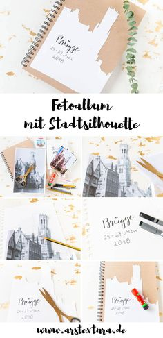 Fotoalben selber basteln – ein tolles DIY-Geschenk Make a photo album: cover with silhouette of a city – the perfect DIY gift to remember a great holiday Make A Photo Album, Make Photo, Photo Album Covers, Diy Blog, Cover Pages, Diy Crafts To Sell, Sell Diy, Diy Gifts, Handmade Gifts