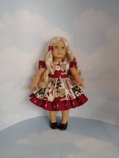 18 inch doll clothes - Christmas Ruffled Dress- Handmade to fit the American Girl Doll - FREE SHIPPING USA by susiestitchit on Etsy