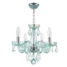 Cheap Worldwide Lighting Clarion Collection 4 Light Chrome Finish and Coral Blue Turquoise Crystal Chandelier D x H Mini Crystal Chandelier Lighting, Candle Chandelier, Bathroom Chandelier, Turquoise Chandelier, Coral Blue, Pink, Elegant Chandeliers, Blue Crystals, Lights