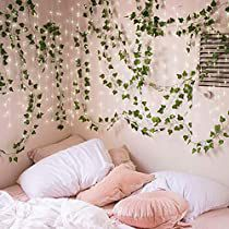 Kicpot Artificial Ivy, 83Ft (12 PCS) Faux Fake Ivy Leaves Hanging Greenery Garland Vines with 32.8Ft LED Light Strings for Bedroom Home Wall Garden Wedding Party Decoration