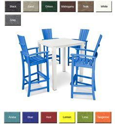 POLYWOOD® PWS277 Quattro 5-Piece Bar Set: POLYWOOD Furniture