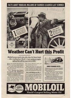 Vintage 1937 Mobil Oil Magazine Print Ad 1930s Petroliana Advertising Man Cave Decor