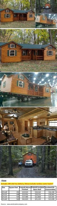 Cumberland Log Cabin Kit starting from 16348 By the Amish Cabin Company Tiny House Cabin, Log Cabin Homes, Tiny House Living, Tiny House Plans, Tiny House Design, Tiny Houses, Barn Houses, Tiny House Kits, Small Cabin Plans