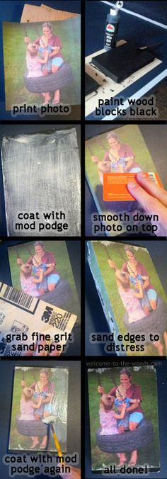 Mod Podge Photo Transfer - welcome to the woods - Mod Podge Photo Transfer – welcome to the woods Wood block Mod Podge Photo Tutorial. The perfect holiday Christmas gift idea! Idées Mod Podge, Mod Podge Crafts, Mod Podge Ideas, Mod Podge Wood, Transfer Images To Wood, Photo Transfer To Wood, Transfer Picture To Canvas, Diy Wood Projects, Wood Crafts