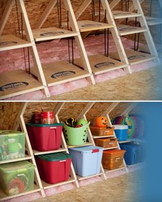 this is a good unfinished attic space idea!  (images courtesy of atticmaxx.com)
