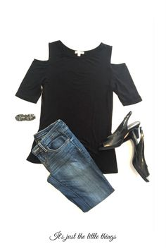 Simple Classy Dinner Outfit. Jeans, Black Open Shoulder Top, Black Pumps.