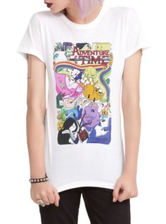 Fitted white tee with Adventure Time artwork created by Chris Houghton.