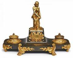 Bronze Maurice Bouval (Frankreich, 1863 - 1916) Schreibzeug, um 1900. Vergoldet, partiell patiniert. — Skulpturen, Plastiken, Installationen, Bronzen, Relief
