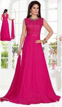 f8b70886e1 A Line Crystals Stones Work Pink Color Party Wear Georgette | FHKF13625820  Follow us @heenastyle