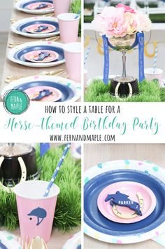 How to style a gorgeous equestrian-inspired dessert and dining table for a Horse-themed kid's birthday party, complete with DIY decor including backdrop and centerpieces. Get all the details now at fernandmaple.com!