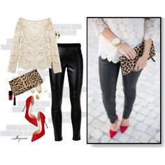 """""""'Affordable Chic'"""" by ladyjaynne on Polyvore #GetTheLook #LookForLess #fauxleather #LeopardPrint #clutches #pumps #red #polyvore #fashion #stylish"""