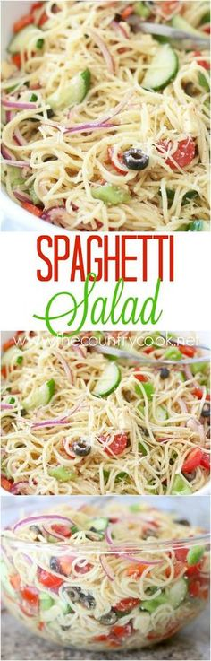 Spaghetti Salad recipe from The Country Cook. This a tried and true recipe that has been made for years. Spaghetti with Italian dressing with cheeses, veggies and special seasonings. Everyone loves it! From the country cook Pasta Recipes, Cooking Recipes, Spagetti Salad Recipes, Spagetti Pasta Salad, Shrimp Recipes, Cold Spaghetti Salad, Cucumber Pasta Salad, Shrimp Spaghetti, Chicken Recipes