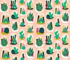 Terrariums - Pink by Andrea Lauren fabric by andrea_lauren