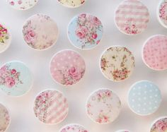 Shabby Drawer Knobs - Huge Assortment- Cottage Chic Knobs, Pretty Floral Drawer Pull, Pink Flowers- Wood Knobs- 1 1/2 Inches