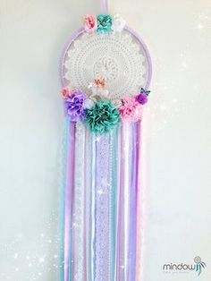 Unicorn Dreamcatcher, Unicorn, Crochet dreamcatcher, Nursery dreamcatcher, Flowers dreamcatcher, Dream catcher, Unique, wall hanging, floral