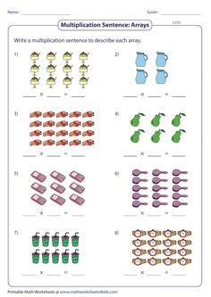 Array Worksheets, Free Printable Math Worksheets, Multiplication Worksheets, Array Multiplication, Fractions, Array Math, First Grade Math Worksheets, Homeschool Math, Math For Kids