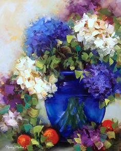 "Daily Paintworks - ""Midnight Blue Hydrangeas"" - Original Fine Art for Sale - © Nancy Medina Media: Oil on archival panel Size: 16x12"