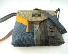Items similar to Recycled Crossbody Purse, iPhone pocket,Recycled mens suit coat, Orange Raisin  Wool, Eco Friendly, Womens Handbag, Tote bag on Etsy