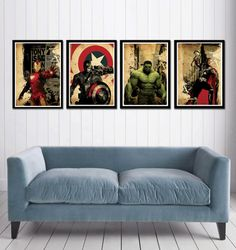 Captain America Hulk  Iron Man and Thor Superheroes by cutejungle, $50.00
