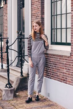 OUTFIT | Stripes on Stripes // Fashion blogger from Amsterdam wearing striped dungarees/jumpsuit, striped turtleneck, fashion, style, outfit, inspiration