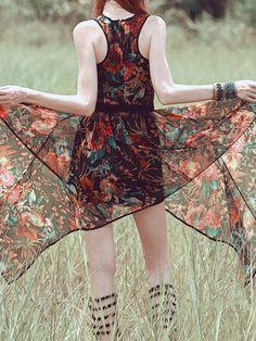 Multicolor Sleeveless Chiffon Midi Dress