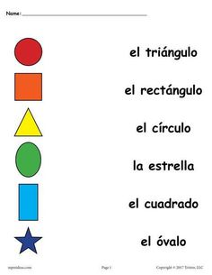 Preschool Spanish Lessons, Learning Spanish For Kids, Spanish Activities, Spanish Language Learning, Teaching Spanish, Geometry Activities, Spanish Games, Spanish Classroom, Learning Italian