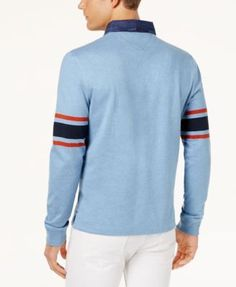 9293e273 Tommy Hilfiger Men's Colorblockeded Long-Sleeve Polo, Created for Macy's &  Reviews - Casual Button-Down Shirts - Men - Macy's