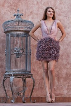 vestido de festa curto Purple deep V neck cocktail dresses short feather  dress with covered buttons above knee lcocktailkleider 642fb3ee4