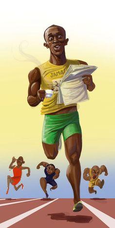 Usain Bolt é um velocista jamaicano, multicampeão olímpico e mundial, recordista mundial dos 100 e 200 metros rasos, além do revezamento 4 x 100 metros como integrante da equipe da Jamaica.