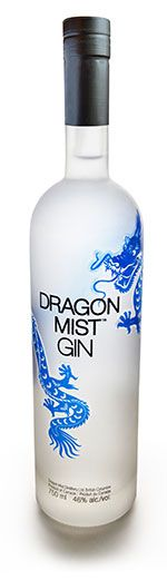 Dragon Mist Gin. 46% ABV. Contemporary. made with wheat grown in Dawson Creek, British Columbia, pure Canadian glacial water, plus west coast botanicals to impart the delicate gin flavour and aroma. It is certified gluten-free. Botanicals : Juniper Berry Apple Mint Elderberry Orange Blossom Fennel Chammomile Clover Rose Petal Honey Bush Spearmint Orange Peel