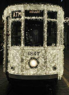Christmas tram in Milan.