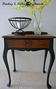 Queen Anne Table - legs painted black. Going to do this on my living room tables.