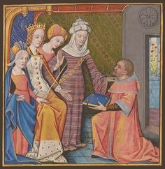 Louise de Savoie, comtesse d'Angoulême, being presented with a book. By Robinet Testard, from the French translation of Boccaccio's Des cleres et nobles femmes, Medieval Manuscript, Illuminated Manuscript, Historical Art, Historical Clothing, Medieval Costume, Medieval Dress, 14th Century Clothing, Historical Hairstyles, Medieval Clothing