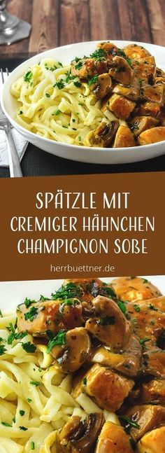 Spätzle mit Hähnchen und Champignons in Sahnesoße mit Thymian und Petersilie. You are in the right place about Italian Recipes for a crowd Here we offer you the most beautiful pictures about the Itali Meat Recipes, Healthy Dinner Recipes, Pasta Recipes, Appetizer Recipes, Crockpot Recipes, Vegetarian Recipes, Chicken Recipes, Shrimp Recipes, Vegetarian Diets