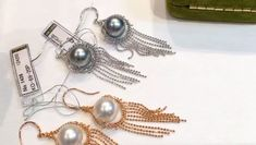 Including With Your Purchase: Money Back Guarantee Certificate of Authenticity Exquisite Metal Gift Box Tahitian Pearl Earrings, Tahitian Pearls, Golden South Sea Pearls, Stylish Dresses For Girls, Shakira, Tassel Earrings, Pearl Jewelry, Macrame, 18k Gold