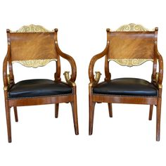 Handsome Pair of Russian Neoclassical Mahogany and Parcel-Gilt Armchairs