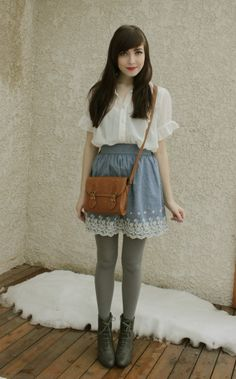 white blouse, light blue embroidered skirt, grey tights and booties