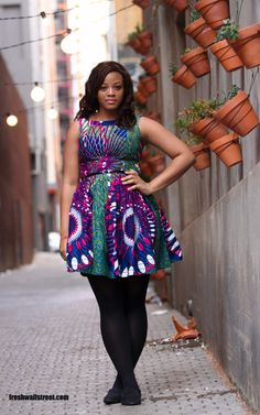 Today's fashion inspiration. African fabric plus size look with flats