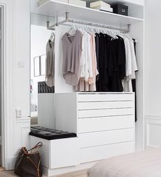 10 Beautiful Open Wardrobe Concepts For Innovative House Bedroom Closet Design, Room Ideas Bedroom, Home Room Design, Closet Designs, Bedroom Decor, Open Wardrobe, Minimalist Room, House Rooms, Room Inspiration