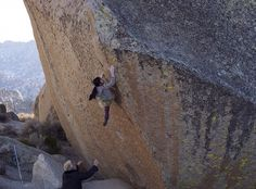 Ashima sending The Swarm (V14) in Bishop, CA