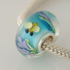 1 Bead - Bee Flower Blue Insect Animal Sterling Silver Core .925 Lampwork Glass European Bead Charm GJ5143 LC0010