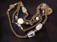 Crackled Crystal Quartz and Antiqued Brass Long by carolesart, $225.00