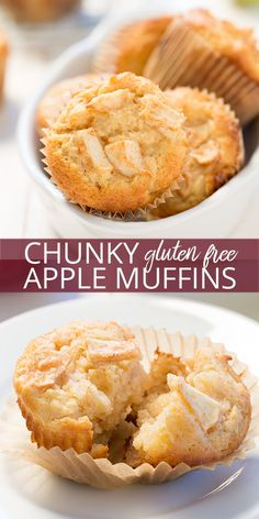 Celebrate apple season with this super easy recipe for perfectly spiced gluten free apple muffins with plenty of diced apples inside. So tender and moist!