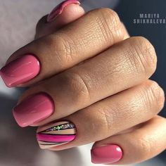 Any choices of design available in our salon, just message and send your design . by Nails & Beauty Accent Nail Designs, Natural Nail Designs, Cute Nail Designs, Acrylic Nail Designs, Glitter Pedicure Designs, Cute Nails, Pretty Nails, Pink Manicure, Magic Nails